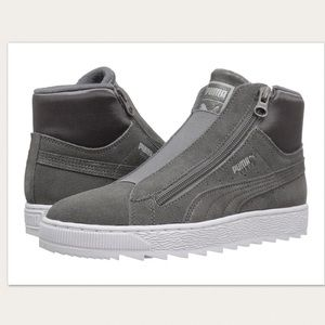 Puma Suede Mid Winter Elemental Grey Sneakers